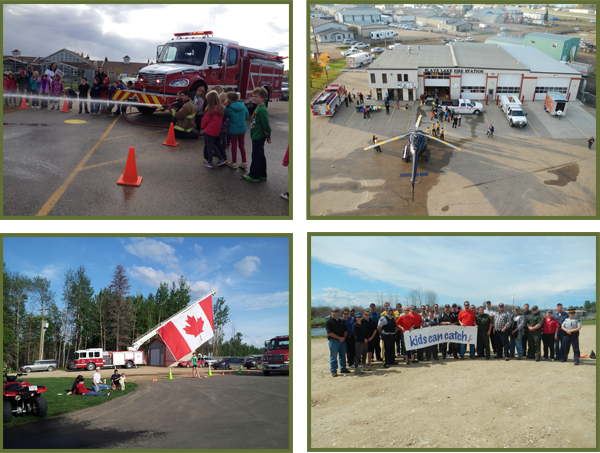 Four images showing the community involvement of the Fire Services department.