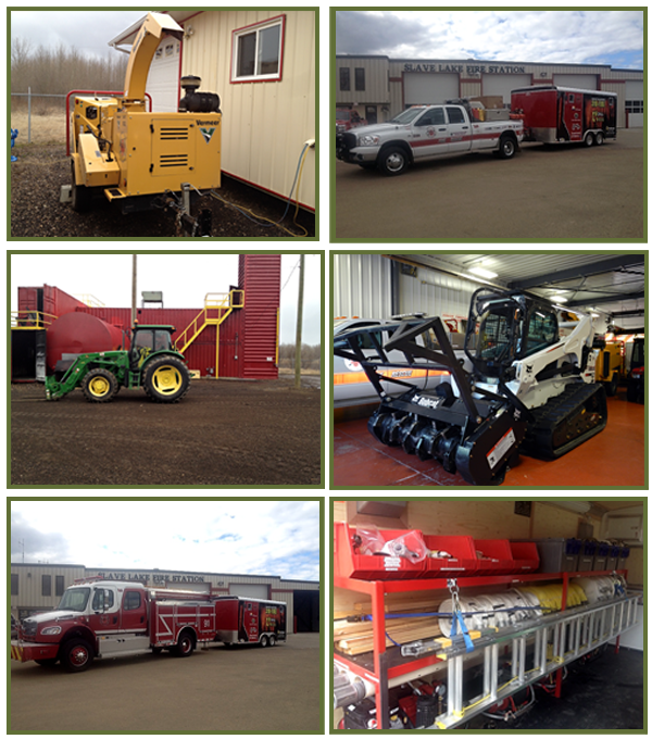 A collage of  images showing the FireSmart equipment.