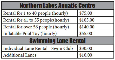 Aquatic Centre Facility Rental & Lane Rental